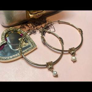 Juicy Couture vintage earrings large hoops w/pearl